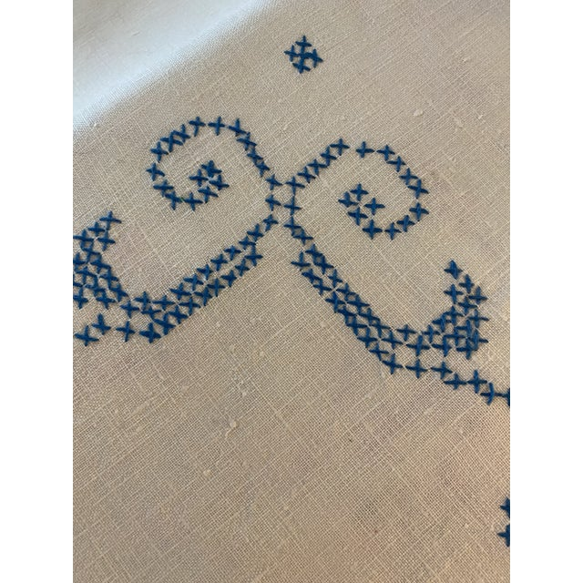 Shabby Chic Antique 1930s Cross-Stitched Embroidered Linen Tablecloth For Sale - Image 3 of 7