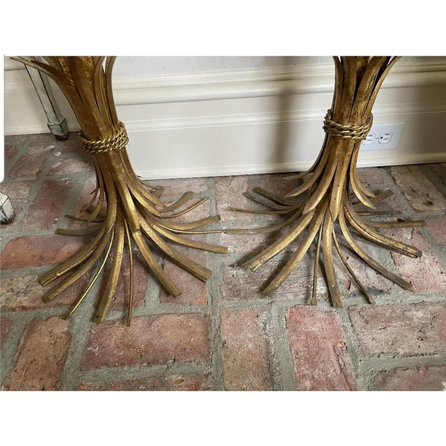 1960s Hollywood Regency Sheaf of Wheat Side Tables - a Pair For Sale - Image 4 of 5