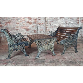 19th Century Fabulous Cast Iron & Wood Patio / Garden 3 Pieces Set For Sale