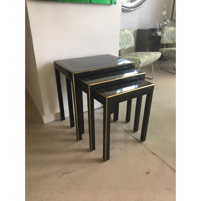 1970s Art Deco Tessellated Stone Nesting Tables - Set of 3 For Sale In West Palm - Image 6 of 9