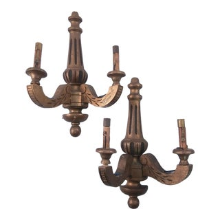 Two Arm Wooden French Sconces - A Pair For Sale