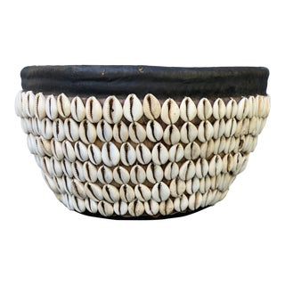 Vintage Nigerian Tribal Cowry Shell Basket For Sale
