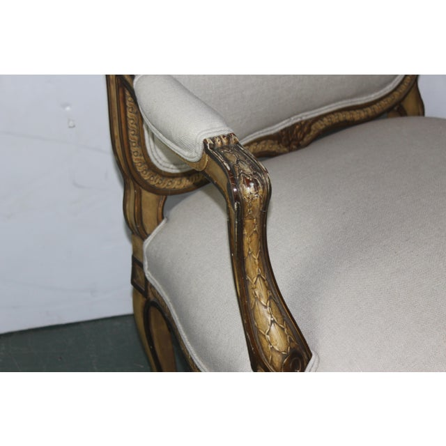 French 1950s Louis XV French Beige Arm Chair For Sale - Image 3 of 6