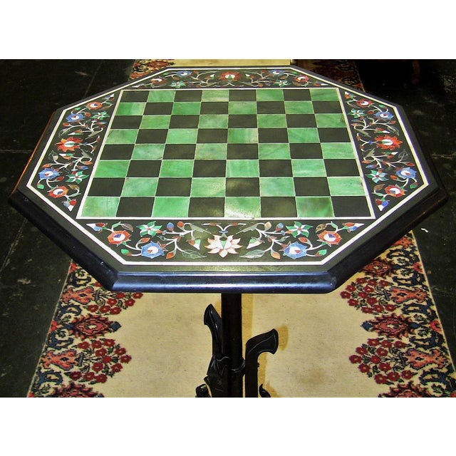 Anglo-Indian Pietra Dura Chess Board Marble Table For Sale - Image 3 of 9