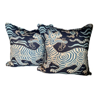 Chinoiserie Clarence House Tibet Dragon Pillows - a Pair For Sale