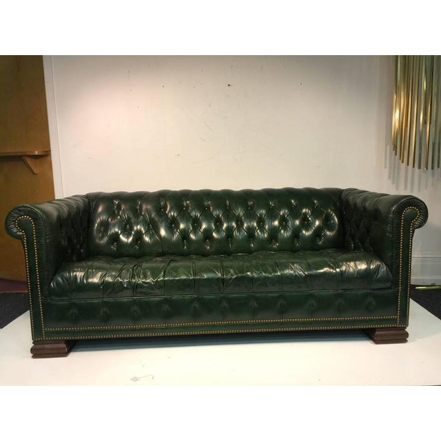 Rare Pair of Vintage Chesterfield Sofas in Hunter Green with Nailhead Detail