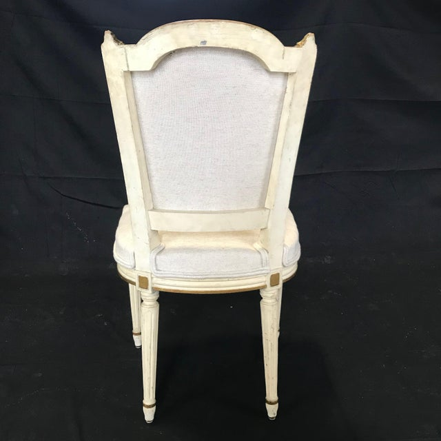 Mid 19th Century Antique Painted Louis XVI Gustavian Style Dining Chairs -Set of 6 For Sale - Image 5 of 13
