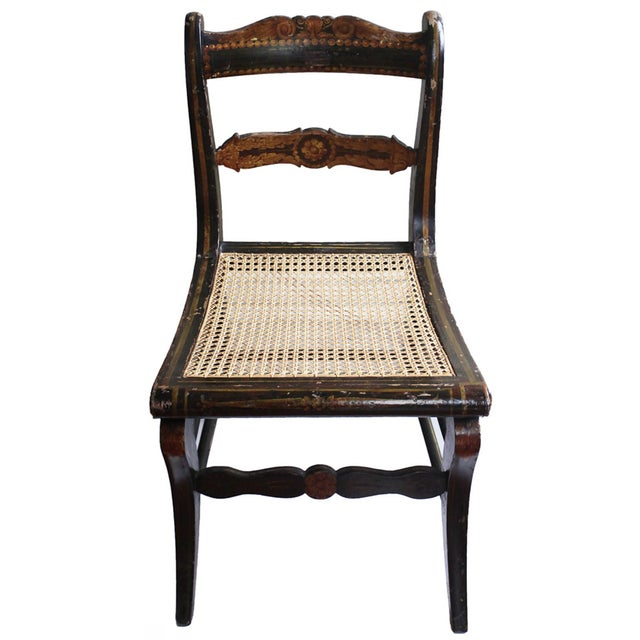 Antique Hand Painted Caned Chair - Image 1 of 5