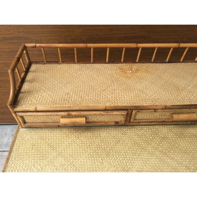 1950s Boho Chic Palm Beach Regency Bamboo & Rattan Desk For Sale In Tampa - Image 6 of 9
