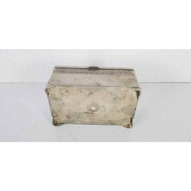Metal Vintage Vera Lucino Greek Key Design Silver Plate Decorative Box For Sale - Image 7 of 10