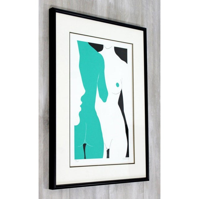 "Figurative Mid-Century Modern ""The Nudes"" Green Framed Lithograph Signed Dated 1979 29/325 For Sale - Image 3 of 7"