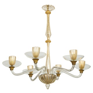 Vintage Italian Over-Sized Six Arm Murano Chandelier For Sale