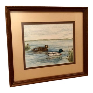 """Ducks and Cattails"" Original Vintage Framed Colored Pencil Drawing For Sale"