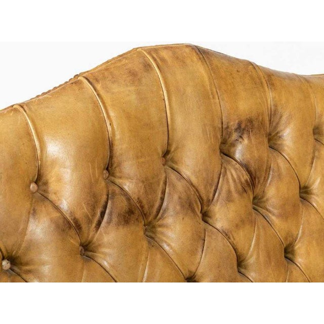 1970s Tufted Leather Wingback Loveseat in the Style of Chippendale For Sale - Image 5 of 6