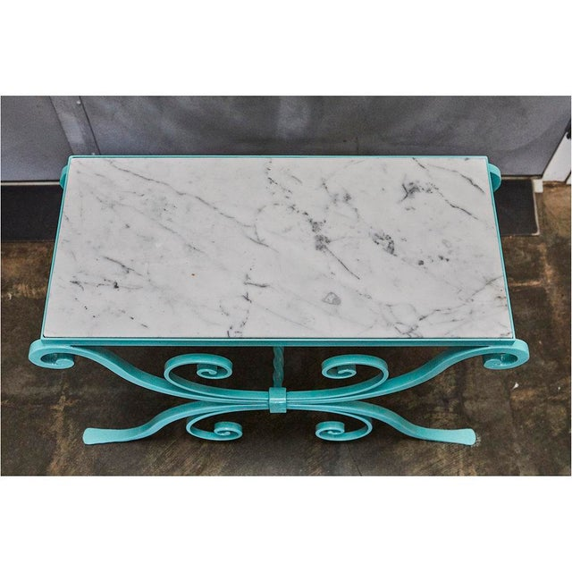 Metal Wrought Iron Table With Marble Top For Sale - Image 7 of 8