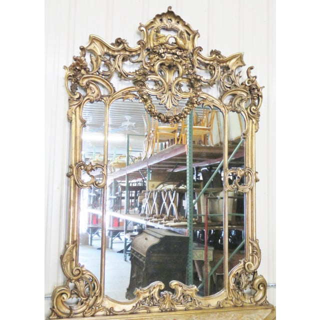 Italian Style Figural Gilt Carved & Marble Console &Mirror For Sale - Image 5 of 10