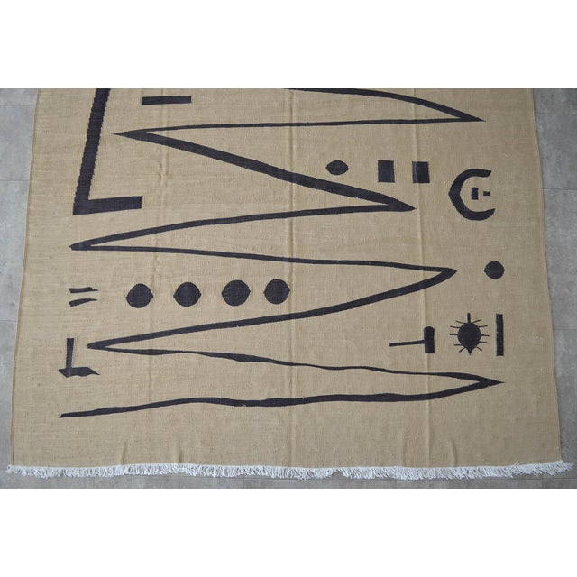 Yellow Paul Klee - Heroic Strokes of the Bow - Inspired Silk Hand Woven Area - Wall Rug 5′11″ × 8′5″ For Sale - Image 8 of 12