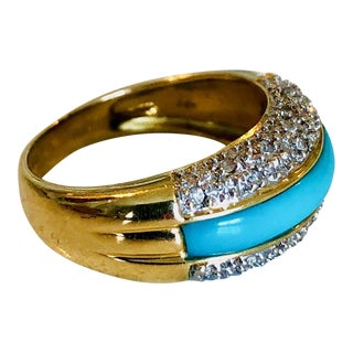 Persian Turquoise and Diamond Gold Ring For Sale