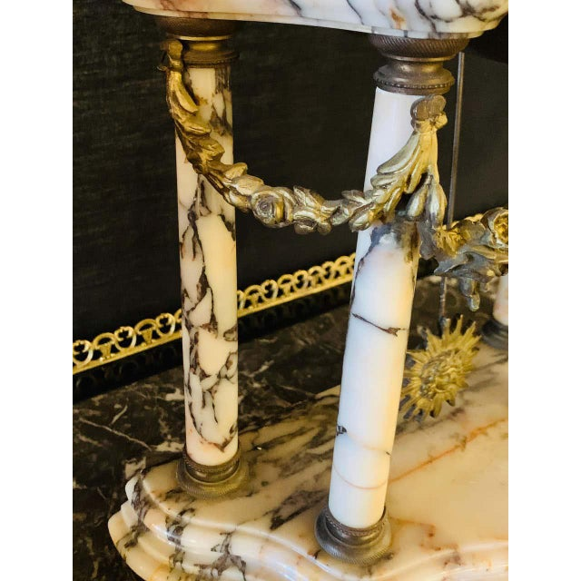 Early 20th Century Louis XVI Style Alabaster and Bronze Clock Garniture Set 19th-Early 20th Century For Sale - Image 5 of 13