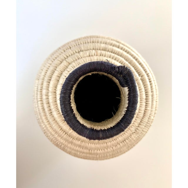2010s Black and White Striped Woven Vase For Sale - Image 5 of 7