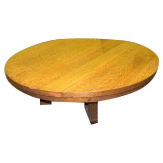 Vintage Arts and Crafts Style Oak Coffee Table For Sale