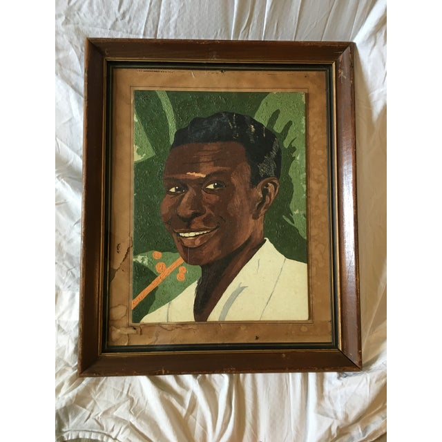 Green Vintage Young Black Man Portrait Framed Oil Painting on Wood For Sale - Image 8 of 8