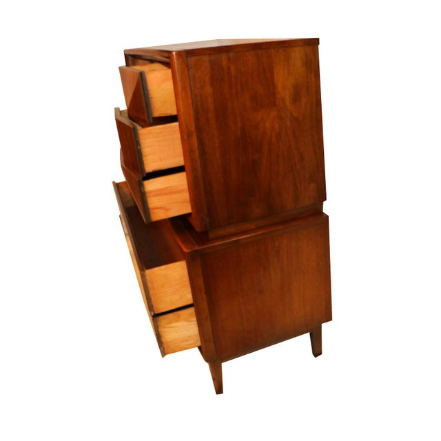 United Furniture Corporation United Mid Century Modern Diamond Front Tall Highboy Dresser For Sale - Image 4 of 10