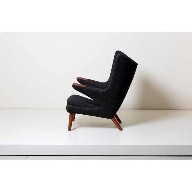 Mid-Century Modern Hans J. Wegner Papa Bear Chair in Black Fabric For Sale - Image 3 of 10