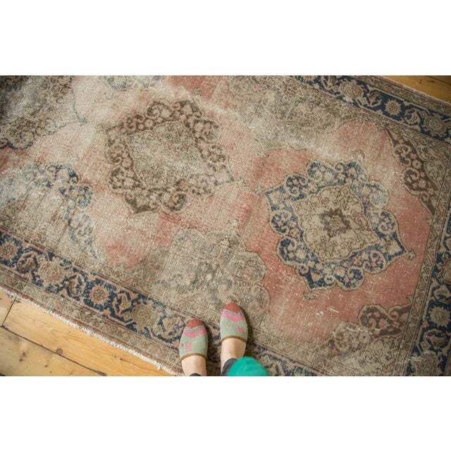 "Old New House Vintage Distressed Oushak Rug Runner - 4'11"" x 13'6"" For Sale - Image 4 of 10"