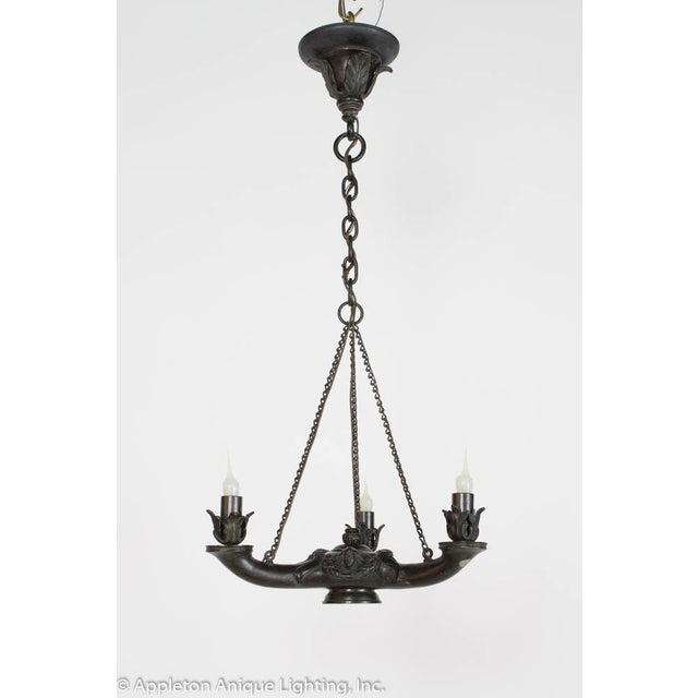 Gothic Restored Bronze Three Arm Whale Oil Chandelier For Sale - Image 3 of 10
