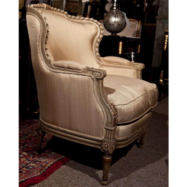 Silk French Louis XVI Style Bergère Chairs - A Pair For Sale - Image 7 of 11