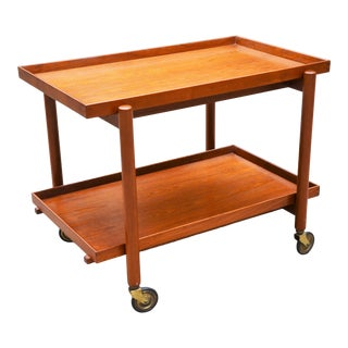 Mid-Century Danish Modern Bar Cart in Teak by Poul Hundevad For Sale