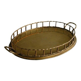 Brass Faux Bamboo Oval Serving Tray