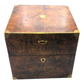 Antique English Campaign Style Box For Sale