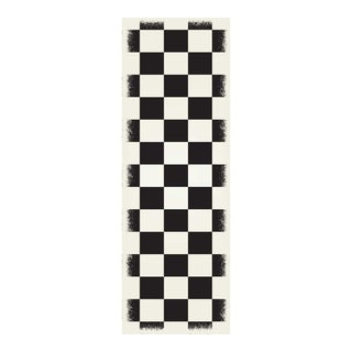 Black & White English Checkered Design Rug - 2' X 6'