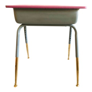 School Desk Vintage Metal W/Adjustable Height Purple /Gray /Gold For Sale