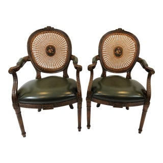 1980s Vintage Theodore Alexander Caned Carved Walnut and Leather Arm Chairs- A Pair For Sale