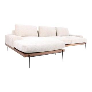 Modern Wood-Rail Sofa Chaise For Sale
