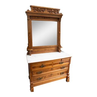 Antique Victorian Walnut Eastlake Dresser With Marble Top For Sale