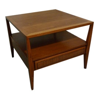 Mid Century Square End Table of Walnut With Cane Front Drawer From Century Furniture For Sale