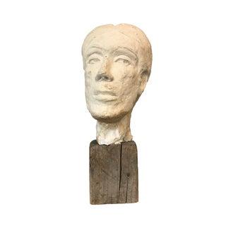 Plaster Bust on Wooden Base