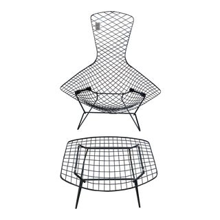 1950s Vintage Knoll Bertoia Bird Chair With Ottoman For Sale