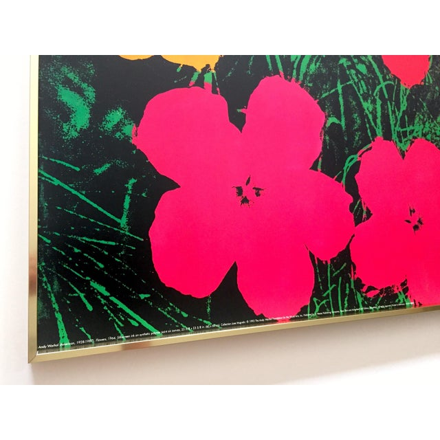 "Metal Andy Warhol Foundation Rare Vintage 1993 Lithograph Print Framed Iconic Pop Art Poster "" Flowers "" 1964 For Sale - Image 7 of 13"