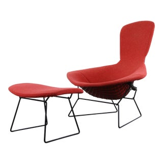 Authentic Bird Lounge Chair by Harry Bertoia for Knoll in Original Red Fabric with Ottoman - 2 Pieces For Sale