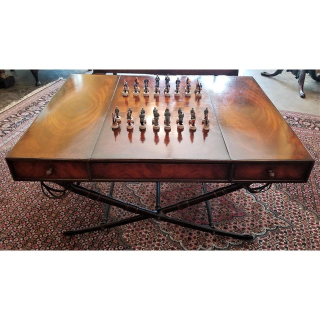 Brown Civil War Themed Mahogany Games Table With Sword Legs For Sale - Image 8 of 13