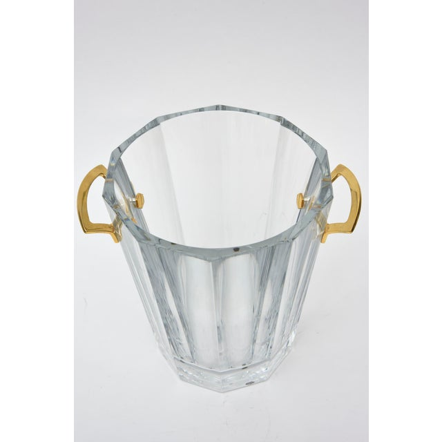 Baccarat Signed Crystal and Brass Ice Bucket/Champagne Cooler For Sale In Miami - Image 6 of 9