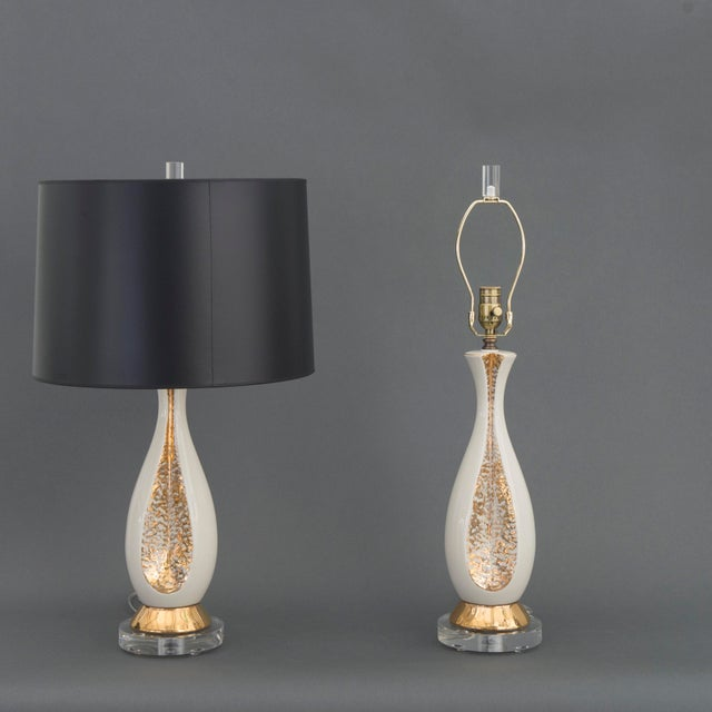 Danish Mid Century Modern Pr of Creamy White Porcelain w/ Gold Accents & Lucite Base Table Lamps - Image 3 of 6
