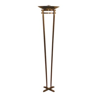 Mid Century Italian Brushed Bronze Relco Torchiere Floor Lamp For Sale