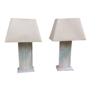Brutalist Sculptural Table Lamps by Casual Lamp of California, 1987 - A Pair