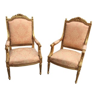 Gilt Peach Upholstered Acanthus Chairs - a Pair For Sale